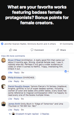 facebook post & replies looking at badass female protagonists