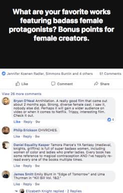 facebook post & replies looking at badass female protagonists