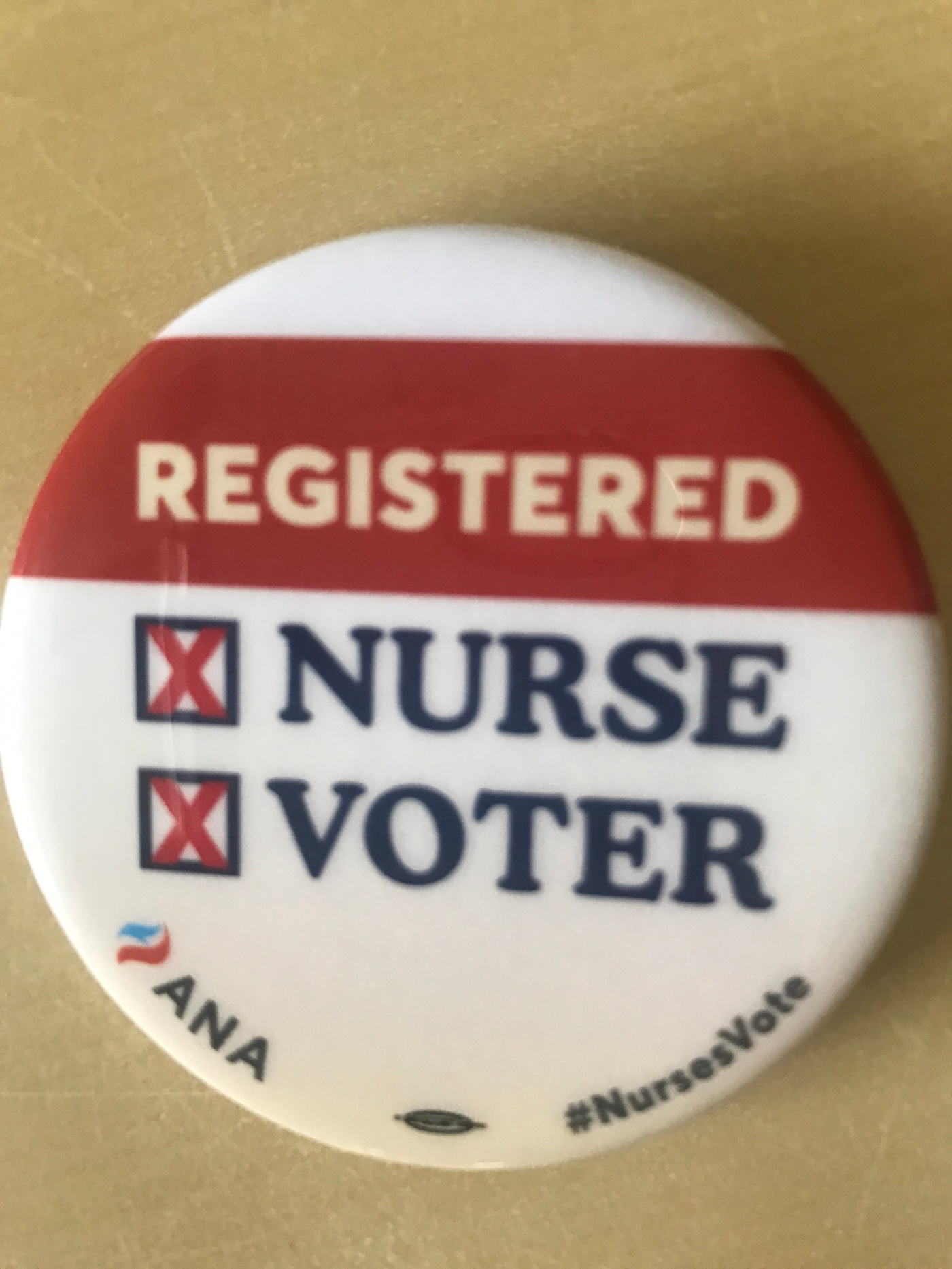 """button displaying text """"registered nurse/voter"""""""